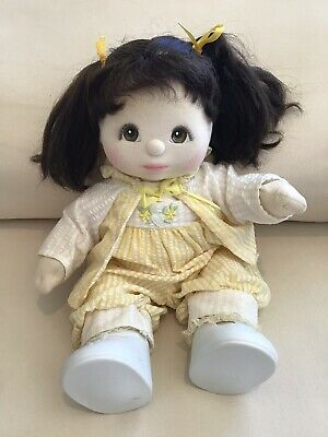My Child Doll Girl Eyes Brown Hair Mattel 1985 Yellow Crepe Set Lace Socks Shoes