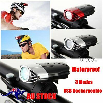 USB Rechargeable Cycling Bicycle Bike Front Head Light LED Waterproof 3Modes rc