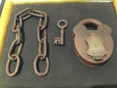 Antique Victorian padlock with key and chain