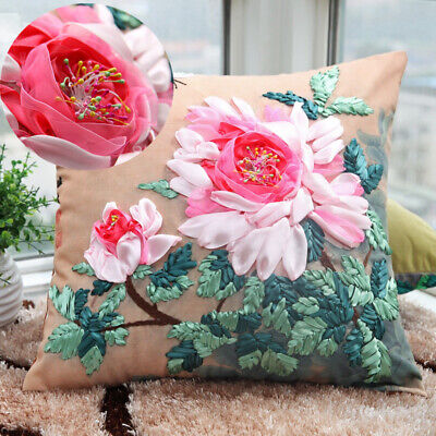Latch Hook Rug Making Beginners Embroidery Ribbon Flower Pillow Cushion Cover