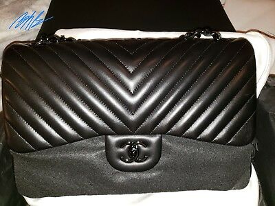 002a88f1b160 AUTHENTIC CHANEL SO Black Chevron Jumbo Double Flap Bag EUC ...