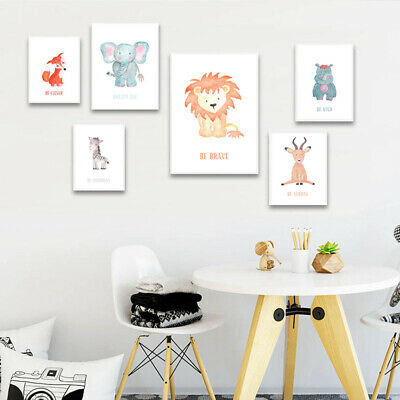 Woodland Animal Canvas Child Poster Nursery Quotes Wall Art Print Bedroom Decor