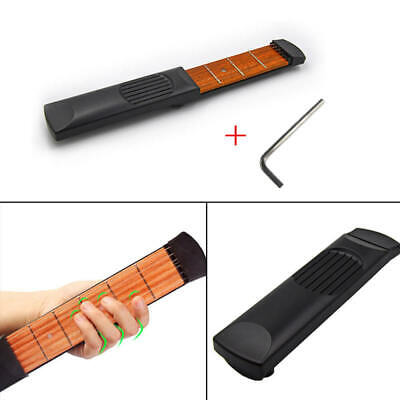 Portable Pocket Guitar Model Wooden Practice 6 Strings Guitar Trainer Tool RID