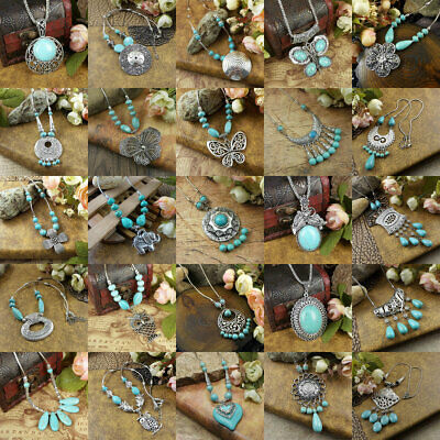 27 style Vintage Women's Tibetan Silver Turquoise Beads String Pendant Necklace
