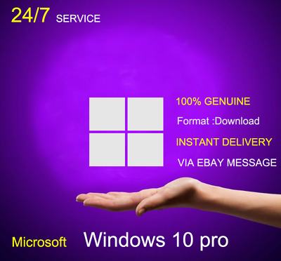 Instant Microsoft Windows 10 Pro Professional 32/64bit Genuine License Key