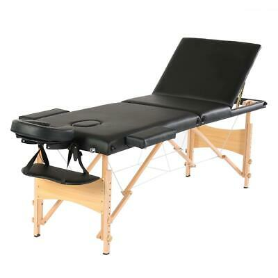 "Portable 84"" 3 Fold Massage Table Beech Wood Facial SPA Tattoo Salon Bed Chair"