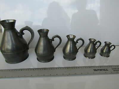 Pewter Graduated Measuring Jugs Set Antique Measures Vintage Retro Irish