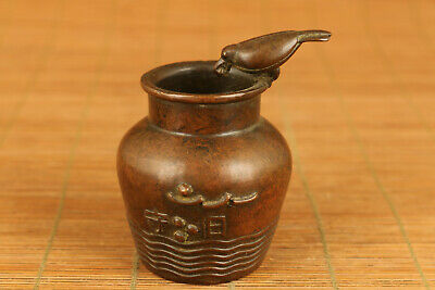 Antique chinese old Red copper Drinking Bird pot collectable table decoration a
