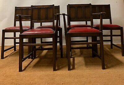 Set Of 6 Vintage Ercol Mid Century Jacobean Upholstered Dining Chairs.2 Carvers