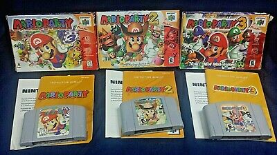 N64 3 LOT Video Games Mario Party 1, 2, 3, Complete with boxes, manuals and cons