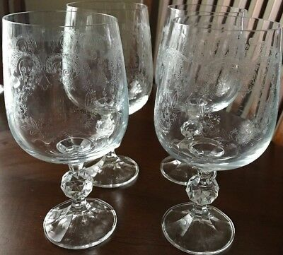 """BOHEMIA """"Cascade"""" Crystal Etched 5 3/4"""" Wine Glasses/Goblets Set of 4 (A)"""