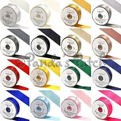 Wired Double Sided Satin Ribbon 25mm or 38mm - Choose Length, Colour and Width
