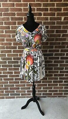 ff8326c2 Womens Bar III front row Dress size Small Macys Floral Black & Ivory Lined