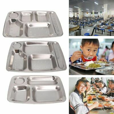Serving Trays Divided Dinner Snack Plate Stainless Steel Kids Baby Food Control