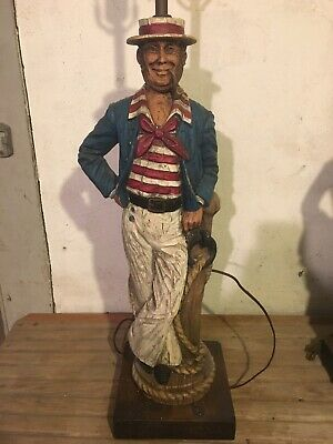 Dunning Industries French Sailor Lamp, 1970's, Hand Carved