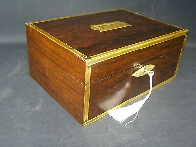 Antique Rosewood Strong Box Working Lock & Key c1860  Brass Center & Edge Bands