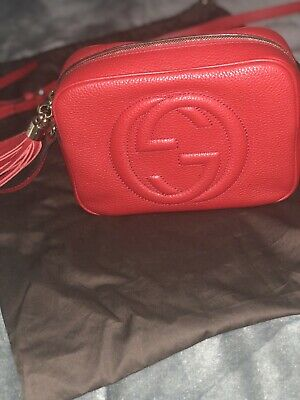 9137adfba98f47 Authentic Gucci Soho Red Leather Small Disco Crossbody Shoulder Bag