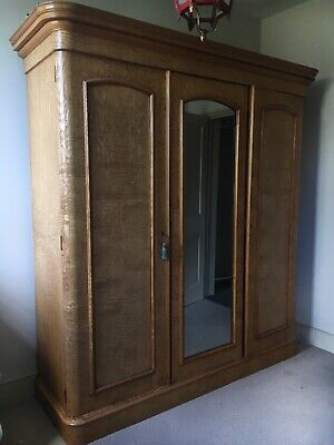 Large Antique Ash Veneer Victorian Wardrobe with Mirror