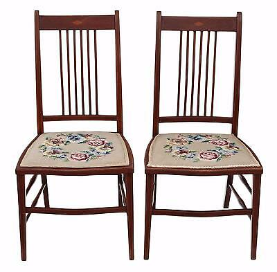 Antique pair of Edwardian needlepoint mahogany chairs bedroom side hall