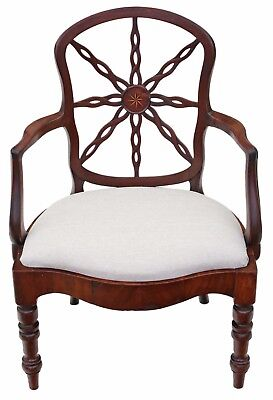 Antique Georgian C1800 mahogany office elbow desk chair carver