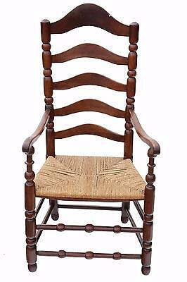 Antique Georgian 18th Century fruitwood high back elbow desk chair carver
