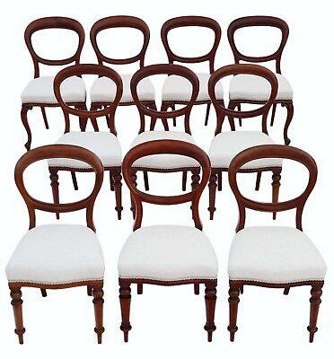 Antique harlequin set of 10 Victorian mahogany balloon back dining chairs C1880