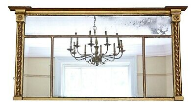 Antique large quality Regency gilt overmantle wall mirror C1825