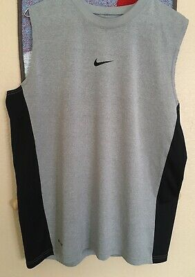 b7c61adf Men's NIKE DRI FIT Gray And Black Sleeveless Fitted Shirt Size Medium Ex  Cond