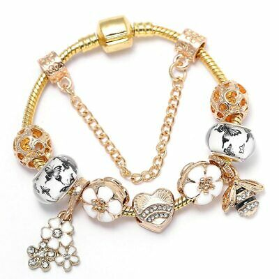 European 925 Silver Charms Bracelet with Gold CZ beads For Women Mother's Day