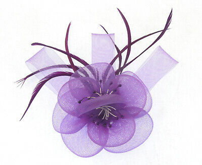 Purple lilac mesh layered feather fascinator clip , weddings, races