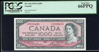 1954 Bank of Canada $1000 - BC-44d. PCGS Gem New 66PPQ. S/N:A/K0936435.