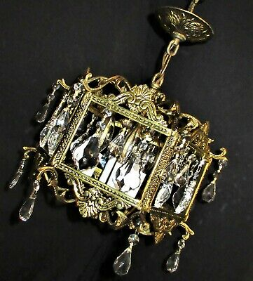 VTG FRENCH/SPAIN CAST BRASS CRYSTALS 4 BULBS CHANDELIER CEILING FIXTURE 1960's