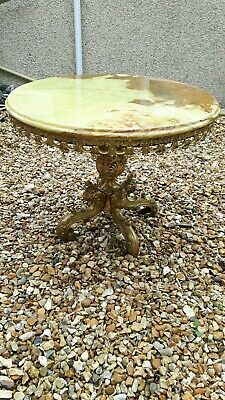 Mid CENTURY 1970's Regency Gilt Solid Brass And ONYX round Coffee Table