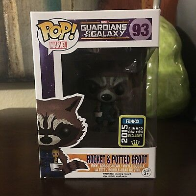 Funko Marvel Pop 48 Guardians Of The Galaxy SDCC Rocket Potted Groot Figure