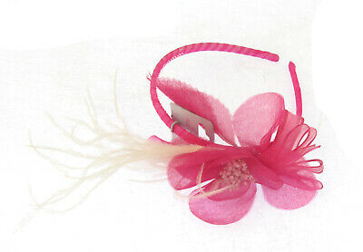 pink flower and feather band hair accessories fascinator weddings, races, prom