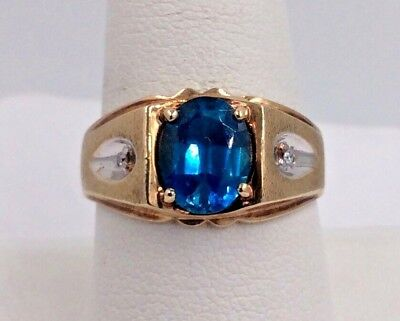 bc987441b3ae2 10K SOLID REAL Yellow Gold 4.0 TCW Genuine London Blue Topaz Size 7 ...