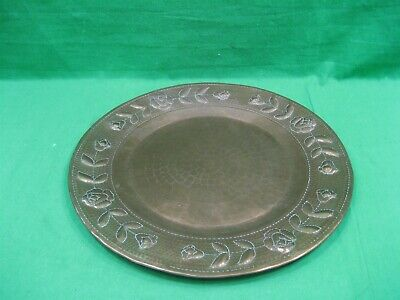 "Vintage Hammered Embossed Round Copper Metal 11.75"" Serving Platter Tray"