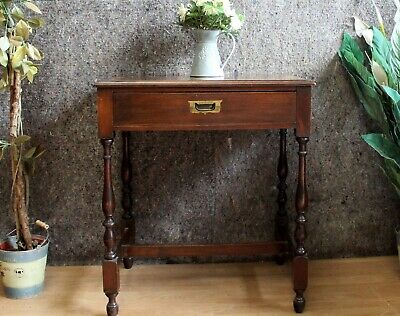 Edwardian Mahogany Inlaid One Drawer Hall / Side / Lamp Table