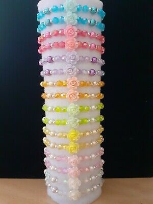 Wholesale Jewellery Childrens Job Lot 16 Beaded Bracelets,Flower Gift,Party Bags