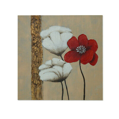 Framed Canvas Hand Painted Oil Painting Poppy Flowers Modern Wall Art Home Decor