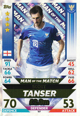 TOPPS MATCH ATTAX SPFL 2018-19 - Scott Tanser - St.Johnstone - # 187 - MOTM