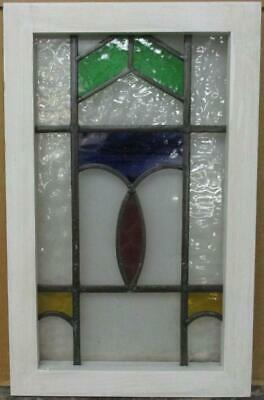 "OLD ENGLISH LEADED STAINED GLASS WINDOW Stunning Geometric Design 13"" x 20.75"""