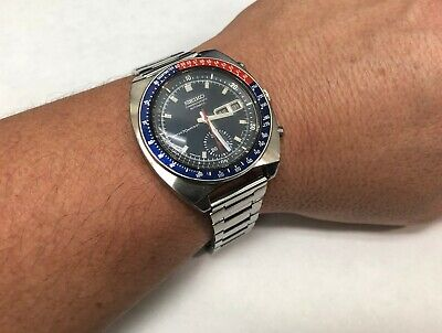 18c5291597 Seiko Pogue 6139-6030 Vintage Pepsi Insert Automatic Chronograph Mens Watch  1971