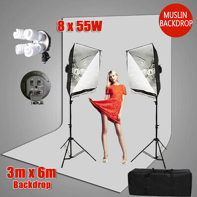 3x6m White Screen Photo Muslin Backdrop Softbox Continuous Lighting Stand Kit AU