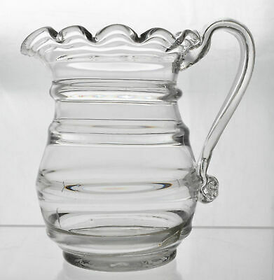 Antique Free Blown Flint Glass Ruffled Ring Pitcher circa 1840 AS IS