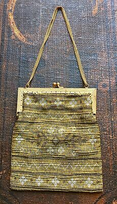 d367a9340e Vtg Deco Seed Beaded Evening Clutch Purse Bag Gold Silver White Metal Chain