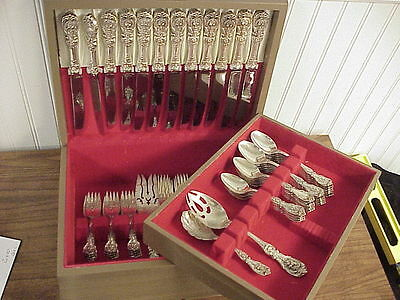 """Reed & Barton """"Francis I"""" Dinner Size Sterling Silver Flatware Set & Case 63pc"""