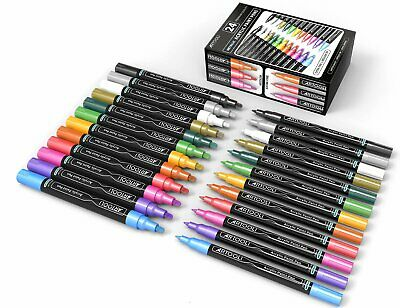 Metallic Acrylic Paint Pens 24 Marker Set 0.7mm (Extra Fine) And 3.0mm (Medium T