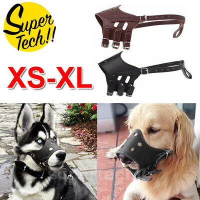 Large Medium Dog Pet Leather Muzzle Mouth Cover Anti Barking Biting Chewing Mask
