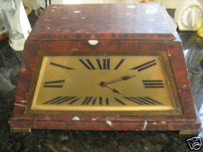 Antique Rouge Marble French Art Deco Clock